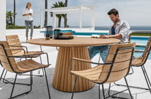 Gloster Outdoor Furniture, Whirl Dining Table and William Dining Table, William Dining Chairs