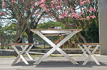 Mamagreen Outdoor Furniture, X-Leg Collection Bench