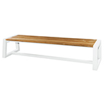 Mamagreen Baia Benches with Sleigh Legs, White and Teak