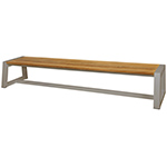 Mamagreen Baia Benches with Sleigh Legs, Taupe and Teak