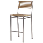 Barlow Tyrie Equinox Bar and Counter Height Side Chairs, Teak and Stainless� width=