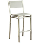 Barlow Tyrie Equinox Bar and Counter Height Side Chairs, Textilene Pearl and Stainless