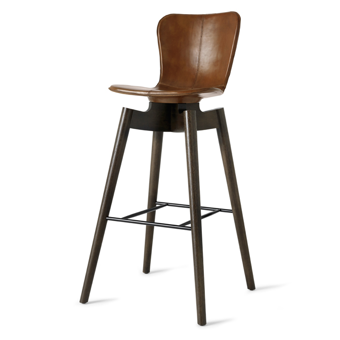 Mater Shell Bar Stool by Michael Dreeben, Saddle Brown Leather
