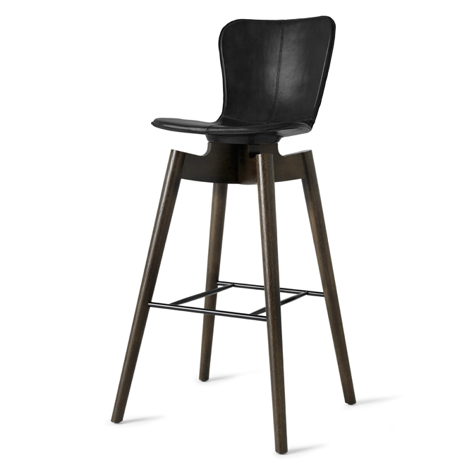 Mater Shell Bar Stool by Michael Dreeben, Black Leather