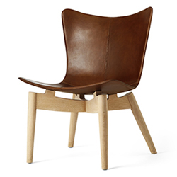 Mater Lounge Chair by Space Copenhagen, Oak with Brown Leather