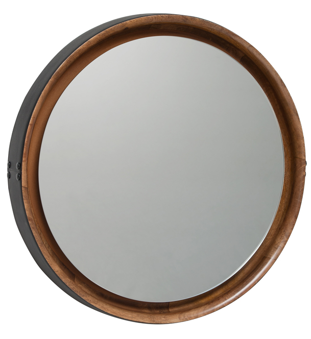 Mater Sophie Large Mirror by Jean-Francois Merillou, Mango Wood with Leather Rim