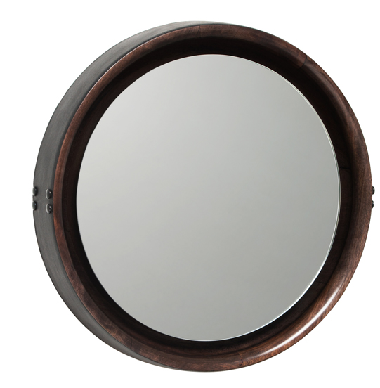 Mater Sophie Medium Mirror by Jean-Francois Merillou, Mango Wood with Leather Rim