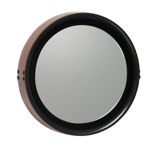 Mater Sophie Small Mirror by Jean-Francois Merillou, Mango Wood with Leather Rim