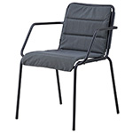 Cane-line Copenhagen Dining Armchair Lava Gray Aluminum with Cushion Seat Pad