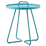 Cane-line On-the-Move Round Side Table Large and Small Aluminum Aqua