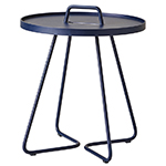 Cane-line On-the-Move Round Side Table Large and Small Aluminum Midnight Blue