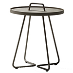Cane-line On-the-Move Round Side Table Large and Small Aluminum Taupe