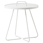 Cane-line On-the-Move Round Side Table Large and Small Aluminum White