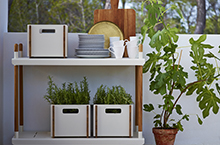 Cane-line Box Storage Box White Lava Grey Teak
