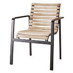 Cane-line Parc Dining Armchair Lava Grey Aluminum and Teak Body Fitted