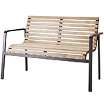 Cane-line Parc Slatted Teak and Aluminum Bench with Backrest Bodyfitted