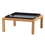 Cane-line Square Coffee Table with Club Tray Teak Black Aluminum