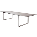 Cane-line Edge Extension Outdoor Dining Table with Ceramic Top and Stainless Steel Frame