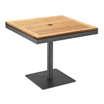 Gloster Azore Square Pedestal Dining Tables, Teak with Black