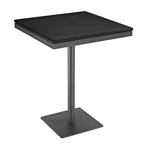 Gloster Azore Pedestal Bar Tables, Black and Tungsten Powder Coated Aluminum