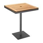 Gloster Azore Pedestal Bar Tables, Teak and Tungsten Powder Coated Aluminum