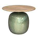 Gloster Blow Glazed Ceramic Round Side Table with Teak Top