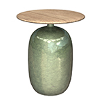 Gloster Teak Tables Blow Glazed Ceramic Round Side Table