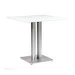 Sifas Oskar Square Dining Tables, White Glass Top