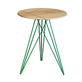 Hubbard Round Side Table, Inlayed Maple with Green, Multiple Options Available