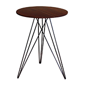 Hubbard Round Side Table, Walnut with Black, Multiple Options Available