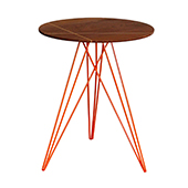 Hubbard Round Side Table, Inlayed Walnut with Black, Multiple Options Available