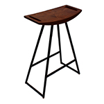 Logan Stool, Black with Walnut