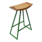 Logan Stool, Green with Maple