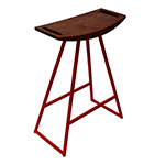 Logan Stool, Red with Walnut