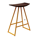 Logan Stool, Yellow with Walnut