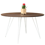 Sidney Round Dining Table, Walnut with White