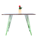 Sidney Rectangular Dining Table, Walnut with Green