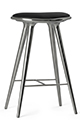 Mater Stools by Space Copenhagen, Aluminum with Black Leather
