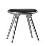 Mater Low Stools by Space Copenhagen, Aluminum with Black Leather� width=