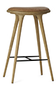 Mater Stools by Space Copenhagen, Oak with Natural Leather