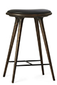 Mater Stools by Space Copenhagen, Grey Oak with Black Leather