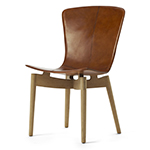 Mater Shell Dining Chair, Clear Oak and Brown Leather