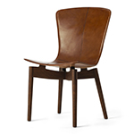Mater Dining Chairs by Space Copenhagen, Stained Oak with Brown Leather