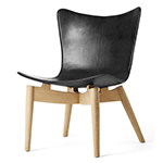 Mater Lounge Chair by Space Copenhagen, Oak with Black Leather
