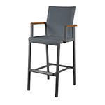 Barlow Tyrie Aura High Dining and Counter Height Carver Chair, Graphite and Charcoal