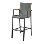 Barlow Tyrie Aura High Dining Carver Chair, Graphite and Platinum� width=�� height=