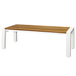 Mamagreen Baia Benches with Post Legs, White and Teak