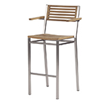 Barlow Tyrie Equinox High Dining and Counter Height Carver Chairs, Teak