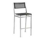 Barlow Tyrie Equinox Bar and Counter Height Side Chairs, Textilene Charcoal and Stainless