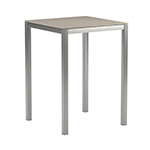 Royal Botania Taboela Square Bar Tables, Cappuccino Ceramic and Electro-Polished Stainless